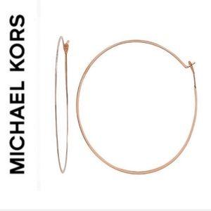 NWT authentic MK rosegold tone light hoop earrings